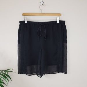 All Saints | Sheer Overlay Black Shorts